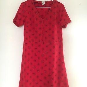 Red + blue detailing dress